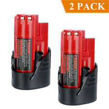 2-Pack 12V 2.5Ah M12 M12B2 M12B4 Battery for Milwaukee Red Lithium Battery Tool