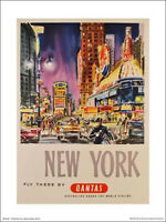 "QANTAS TRAVEL POSTER PRINT - NEW YORK FLY THERE - 40 x 30 cm 16"" x 12"""