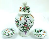 Vintage FAMILLE ROSE Porcelain GINGER JAR And Plates PEACHES & BATS Asian VASE