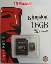 Tarjeta Micro SD 16GB Kingston Technology clase 10 + adaptador vendedor del Reino Unido para teléfonos