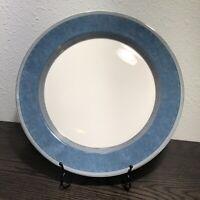 """Dansk Gridworks Blue 13"""" Chop Plate Round Platter Blue Stripes Squares / Retired"""