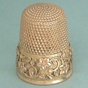 Gorgeous Antique 14 Kt Rose Gold Thimble w/ Applied Star Flower Band * C1880s