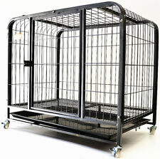 Pet Dog Puppy Cat Rabbit 37' Large Wheel Metal Steel Cage Crate Kennel (#93Y)