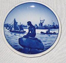 """White Blue 3 1/4"""" Royal Copenhagen Denmark Coaster Plate Langelinie"""