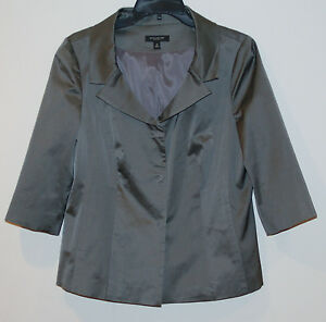 Ann Taylor Womens Jacket Blazer Satin size 10 Gray $148