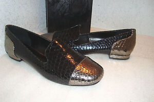 Dolce Vita Womens NWOB Cullen Black Snake Leather Flats Shoes 6.5 MED NEW