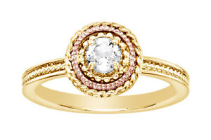 14k Yellow Gold Over Sterling Silver White Topaz Stack Ring