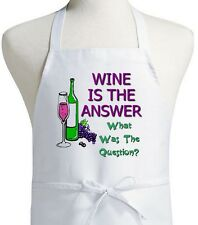 Wine Is The Answer Funny Wine Humor Sayings, Novelty Kitchen Aprons