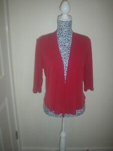Womens Minuet Waterfall Cardigan, Red, Polyester,  size UK 12 petite