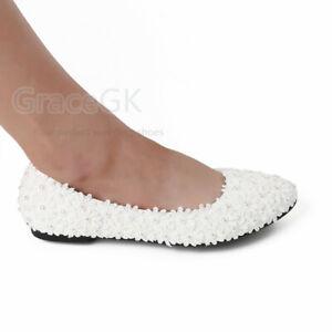 "WHITE/IVORY Lace Wedding Bridal Bridesmaid Flat 2""cm/3""cm Heels shoes"