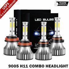 4-Sides 9005 H11 Combo LED Headlight Kit Fog Light Bulbs High Low Beam 6000K HID