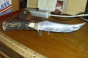 Vintage Schrade USA 498 Bowie Knife with Sheath, 9-3/8 in. over all length