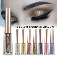 12 couleurs liquide fard à paupières Shimmer coloré brillant ombre à paupières