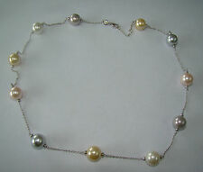 """Sterling AG Italy Simulated Multicolor Pearl Necklace- 29.07 Grams - 23"""" - #H359"""