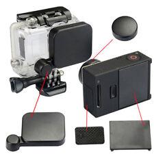 Black lens cap + battery back door side door cover for gopro hero 3+/4 cameraF9