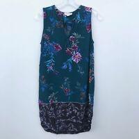 Beach Lunch Lounge Shift Mini Dress Floral Sleeveless Green - Womens Small S