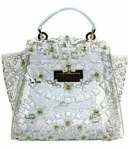 $550 NWT ZAC POSEN EARTHA FLORAL APPLIQUE TOP HANDLE CONVERTIBLE BACKPACK CLEAR