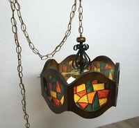Swag Lamp Parlor Light Stained Glass Style Wood Hexagon Shade Vintage MCM Danish
