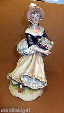 Vintage Porcelain Lefton China, Women w/ Flower Basket KW129B, Figurine Marked
