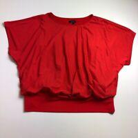 Alyx Women's Blouse Top 3X Plus Red Crewneck Short Dolman Sleeve Stretch Bold