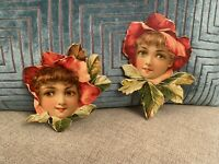 Lot Antique Stunning Large Rare Rose Victorian Ladies Girls Lithograph Die Cuts