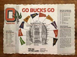 Rare 1982-83 Ohio State - Big Ten Football Schedule Placemat - EX!