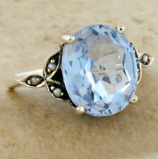 5 CT SKY BLUE TOPAZ SIM VICTORIAN ANTIQUE DESIGN 925 SILVER RING SIZE 10,    #26
