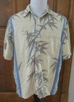 TORI RICHARD KAPALUA Mens L SILK Tan Blue Green Floral S/S Button HAWAIIAN Shirt