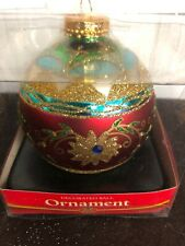 Vintage Decorated Ball Ornament Large Size Hand Decorated, New