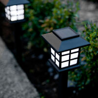 Set of 6 White LED Outdoor Solar Powered Lantern Garden Lawn Landscape Lights