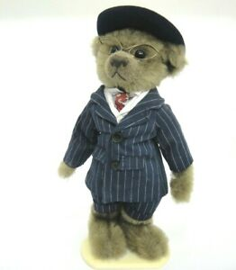 Brass Button Pickford Stuffed Plush Bear 1900s Baxter Blue Pinstripe Suit Stand