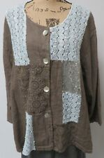 SARAH SANTOS,THEIR SIZE XXLTAUPE LINEN JACKET WITH ADORNMENTS,MADE IN ITALY.