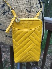 NWT Tory Burch Alexa Quilted Cell Phone 2 WAY Crossbody Chain bag Yellow-$278