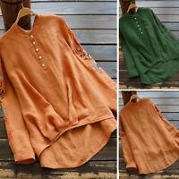 ZANZEA 8-24 Women Floral Embroidered Button Up Top Tee T Shirt Cotton Blouse