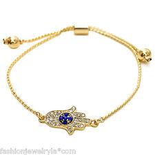 Fashion Gold Crystal Evil Eye Hamsa Protection Adjustable Bracelet