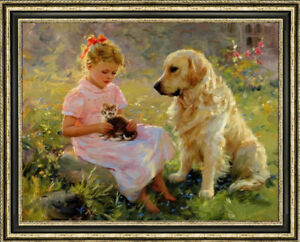 "Original Oil Painting art Impressionis Small Girl and dog on canvas 30""X40"""