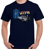 Dr Who Doctor Back To The Future T-Shirt The Tardis v's DeLorean Mens Funny Tee