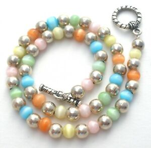 """Baby Sterling Silver Cats Eye Bead Necklace Multi Color Childs 11"""" Long Vintage"""