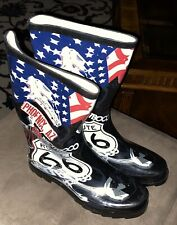 ROUTE 66 Rubber Rain Boots NEW Ladies Sz 9 by West Boulevard Blvd American Flag