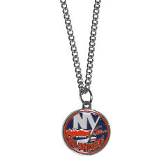"new york islanders licensed nhl hockey charm necklace 22"" chain"