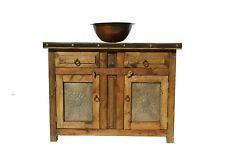 """Custom Rustic Reclaimed Wood Bathroom Vanity 36"""" wide Metal Doors"""