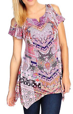 ONE WORLD PURPLE EMBELLISHED COLD SHOULDER SHORT SLEEVE MICRO JERSEY TUNIC Sz 3X