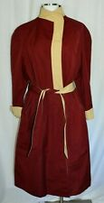 Etienne Aigner Reversible Burgundy Beige Belted Open Front Trench Coat Size 16