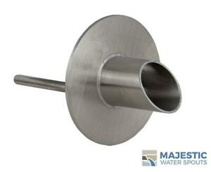 """WAVERLY 1.5"""" ROUND WATER FOUNTAIN SPOUT/SCUPPER - STAINLESS STEEL"""