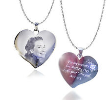 Personalised Photo & Text Engraved Heart Necklace and Pendant Mother's day Gift