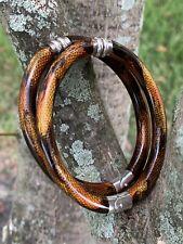 Tiffany & Co 2 Enamel Resin Snakeskin Silver 925 Hinge Bangle Bracelet Rare Pair