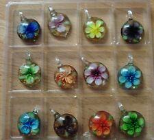 12 Stück Glasanhänger für Kette mit Blumen u.Glitzer zum Einhängen,5x3,4x1cm,Neu