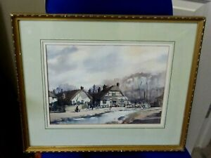 Original watercolour of King's Somborne Hampshire by S.Madeley
