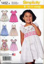SIMPLICITY SEWING PATTERN 1452 GIRLS 3-8 EASY DRESS W/ NECK & SLEEVE VARIATIONS