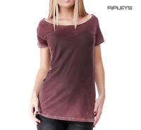 Outer Vision Ladies Top Vintage Grunge Distressed 'Marilyn' Wine Red All Sizes